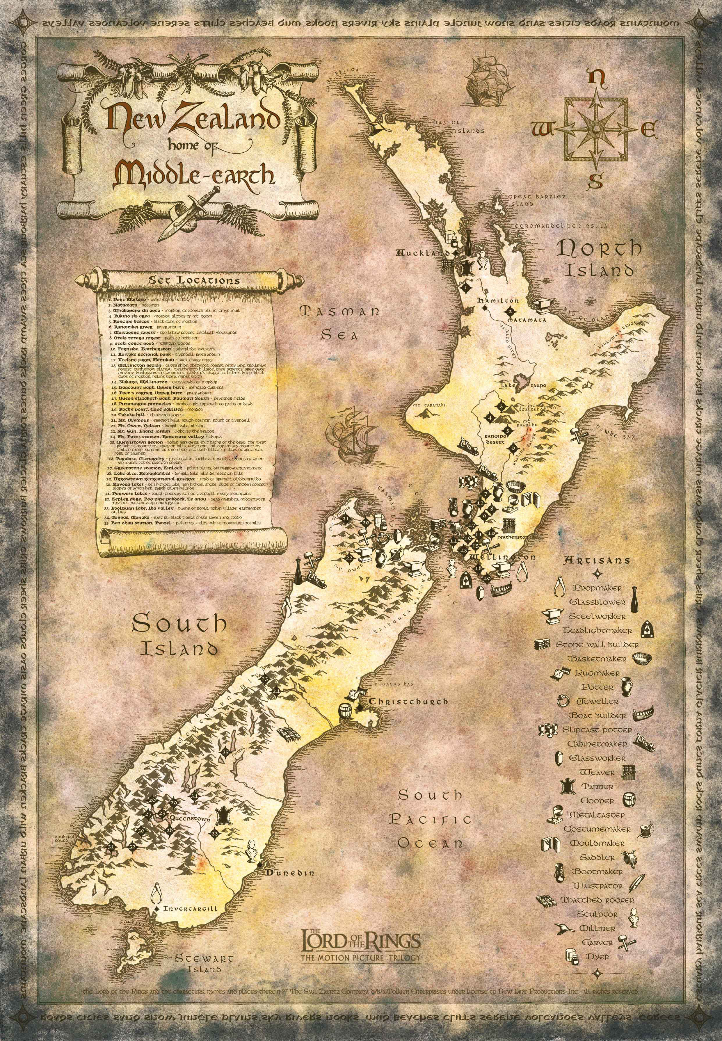 Map of Lord of the Rings filming locations