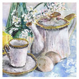 Still life with lilac, tea set and lemons by Astrid Nielsch