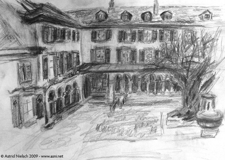 inspiration: courtyard in Basel, pencil study