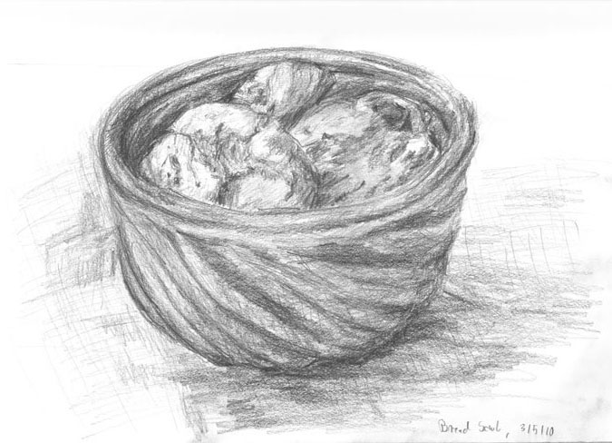 sketch: home baked rolls