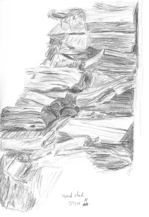 sketch: wood stack