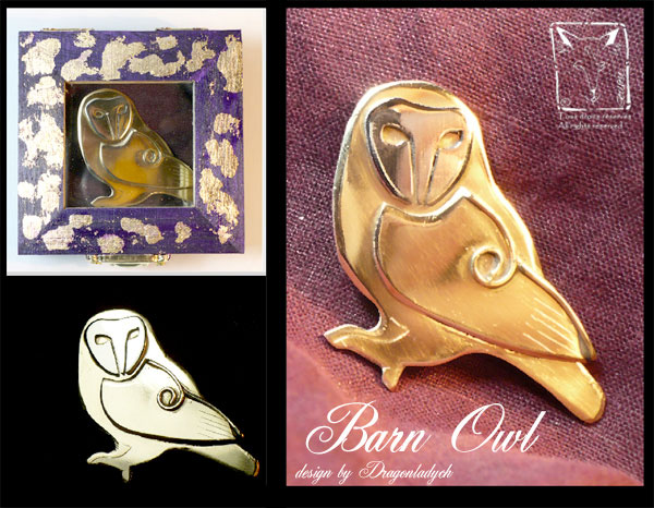 Barn owl brooch by DragonladyCH