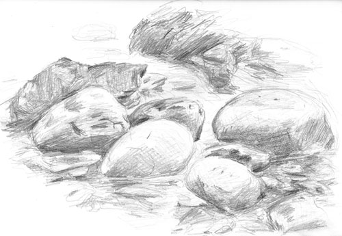 sketch: river rocks