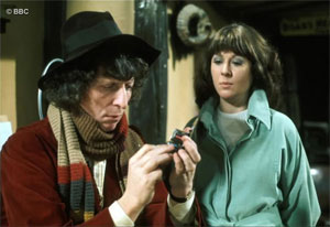 Elisabeth Sladen with Tom Baker in 'Dr Who: Terror of the Zygons', 1975