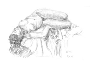 Life drawings by Astrid Nielsch at Blueberry Gallery, Carterton