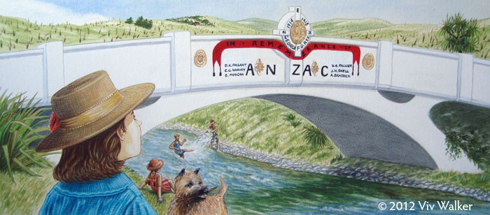 The Eels of Anzac Bridge, page spread - © 2012 Viv Walker (illustrations), Ali Foster (text)