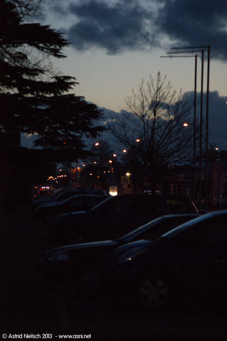 Evening in Masterton: Street lights and moon