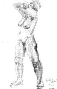 Female nude, standing by Astrid Nielsch