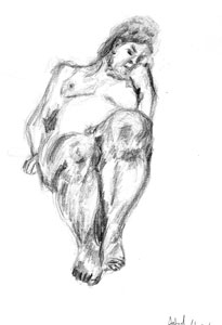 Pensive female nude by Astrid Nielsch