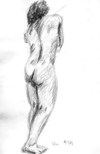 Standing female nude by Astrid Nielsch