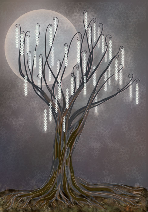 tree of light christmas card design by Astrid Nielsch