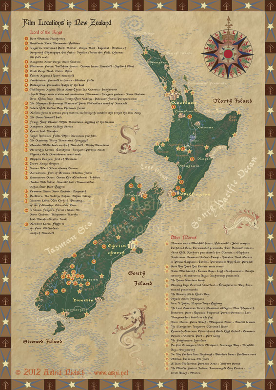 map of Lord of the Rings filming locations in New Zealand